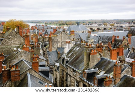 Roofs of the medieval town Blois in Loire valley ( Val de Loire, France) - stock photo