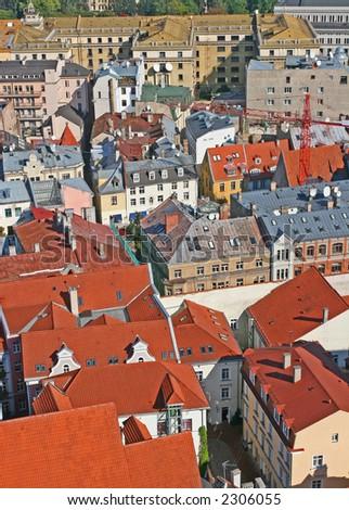 Roofs of the Riga city (Riga, Latvia). - stock photo