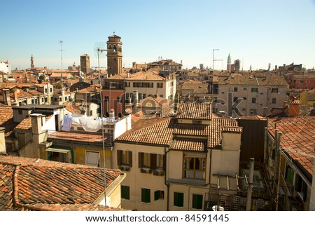 Roofs pf venetian houses in Venice - stock photo
