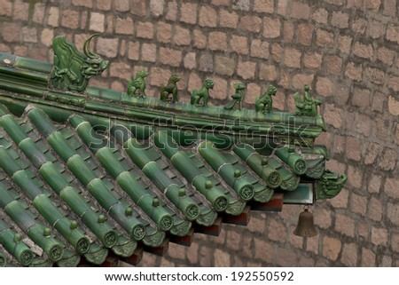 Rooftop at Juyongguan pass section of the Great Wall of China, Changping District, Beijing, China - stock photo