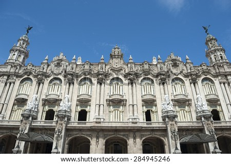 Rooftop detail of the Galician Palace, or Great Theater of Havana under blue sky in central Havana Cuba  - stock photo