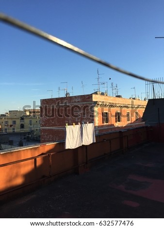 Rooftop of Rome. Linen hanged for drying