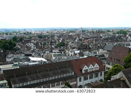 Rooftop View in Basel, Switzerland from Cathedral - stock photo