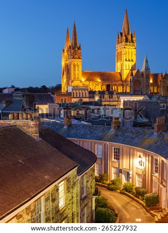 Rooftop view of Truro Cornwall England with the Cathedral illuminated at dusk
