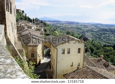Rooftops in cortona with a beautiful wiew - stock photo