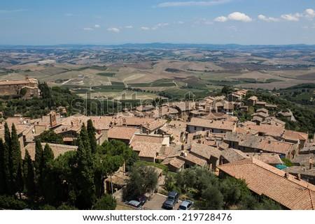 rooftops in Montalcino, Tuscany - stock photo