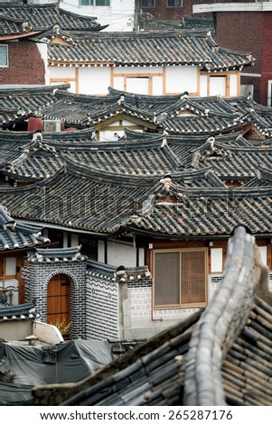 Rooftops of Bukchon Hanok Village, Seoul, South Korea - stock photo