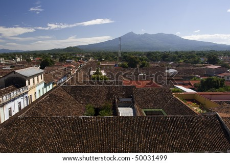Rooftops of Colonial Granada in Nicaragua - stock photo