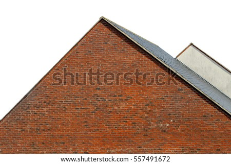 Rooftops of modern houses isolated on white background with copy space.