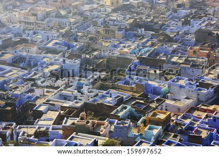 Rooftops of old town, Bundi, Rajasthan, India - stock photo