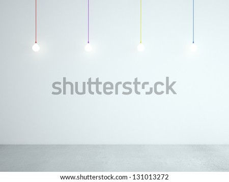 room and ceiling color lamps - stock photo