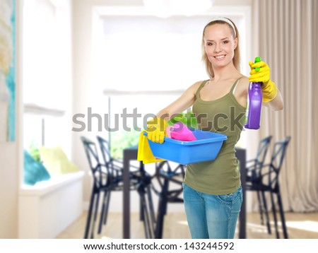 Room cleaning woman making the houshold at home - stock photo