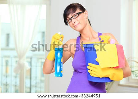 Room cleaning woman making the houshold at home as household housekeeping wife - stock photo
