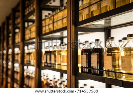 Room Full Of Whisky Cabinets Storing Different Types Of Whiskey