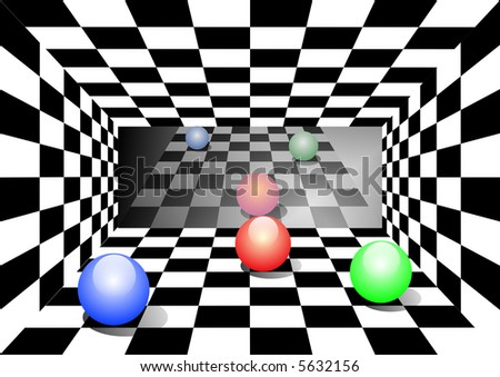 Room in a chess cell with three spheres and reflection