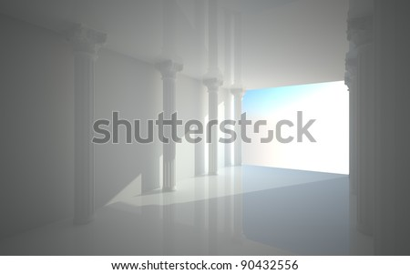 room in a minimalist style with classical columns  2 - stock photo