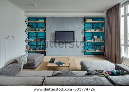 Room in a modern style with gray walls with blue niches and a parquet with carpet on the floor. There is a gray sofa and pouf with pillows and plaid, table, shelves with books and flowers, TV, player.