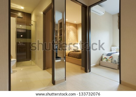 room in condominium set for two bedroom. - stock photo