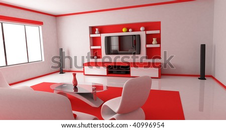 Room in red colour (done in 3d)