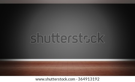 Room interior, empty black wall and wooden floor - stock photo