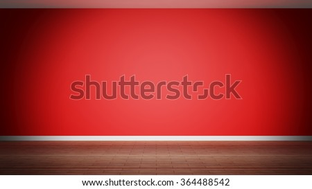 Room interior, empty red  wall and wooden floor - stock photo