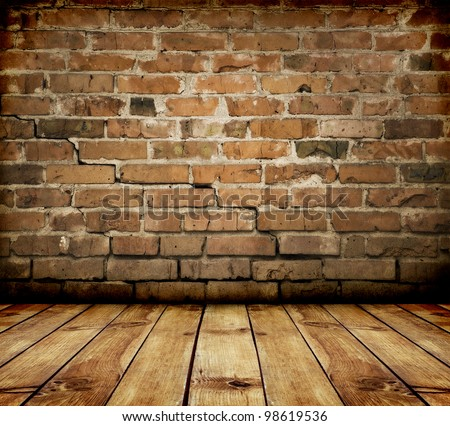 room interior vintage with brick wall and wood floor - stock photo
