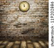 room interior vintage with clock on brick wall and wooden floor. Holiday waiting background - stock photo
