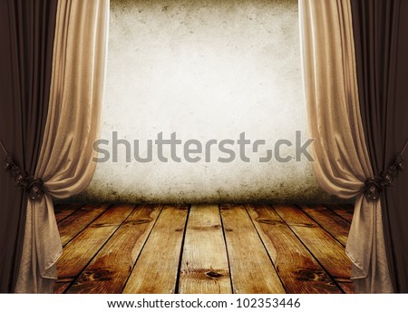 room interior vintage with curtains and white wall - stock photo