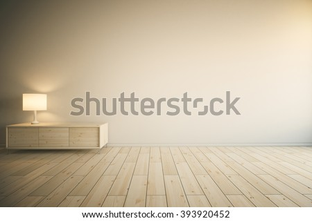 Room interior with empty painted wall, light wooden drawer cabinet with lamp and parquet. Mock up, 3D Redner - stock photo