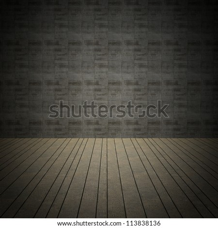 room interior with grunge vintage wall - stock photo