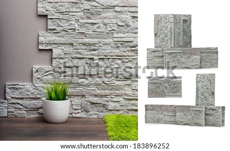 Room interior with stone wall, vinyl wallpaper and wood floor background and stones isolated. - stock photo