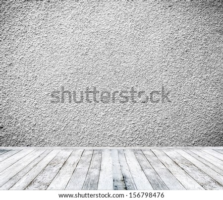 Room interior with white wall and wooden floor - stock photo