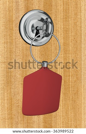 Room key is in the lock - stock photo