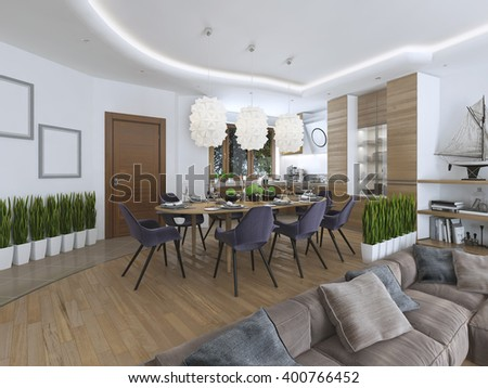 Room kitchen dining area and living-room on lower level in the Contemporary style. Sideboard with utensils decorations shelves. 3D render.