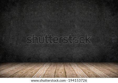 Room perspective - Rough Blackboard wall and wooden floor,grunge background - stock photo