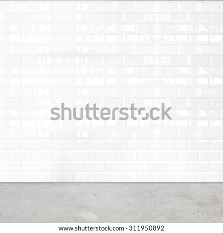 Room perspective,white ceramic tile wall and cement ground. - stock photo