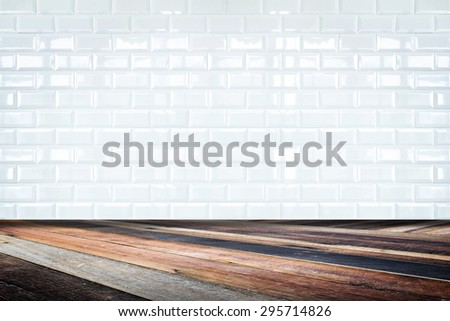 Room perspective,white ceramic tile wall and diagonal floor,background for display of product - stock photo