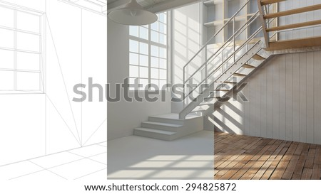 Room planning in a loft with CAD wireframe and white and color version (3D Rendering) - stock photo