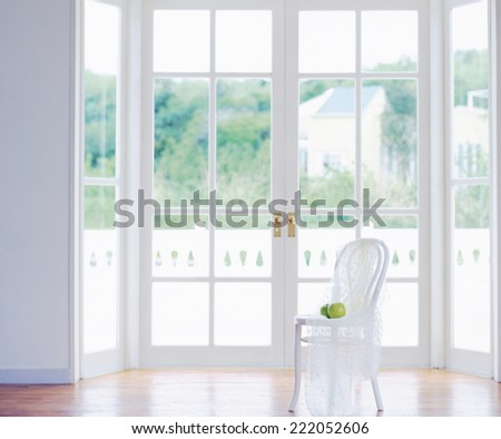 room view with a chair - stock photo
