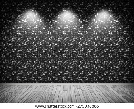 Room wall illuminated with 3 lights with vintage flower wallpaper pattern. - stock photo