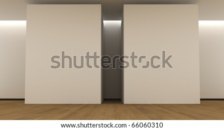 Room whit a blank panels - stock photo
