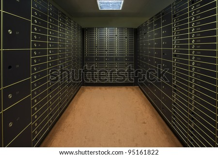 Room with a large group of safety boxes - stock photo