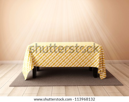 Room with a table - stock photo
