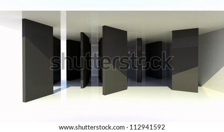 Room with black partition, abstract architecture - 3d illustration - stock photo