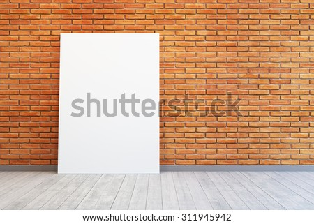 room with blank picture and brick wall - stock photo