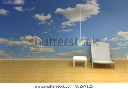 room with blue sky wallpaper