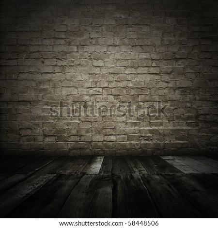 room with brick wall - stock photo