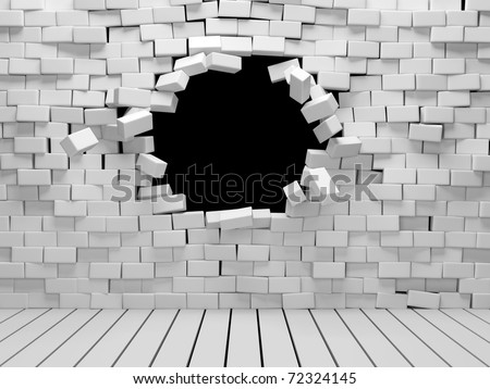 Room with broken brick wall - stock photo
