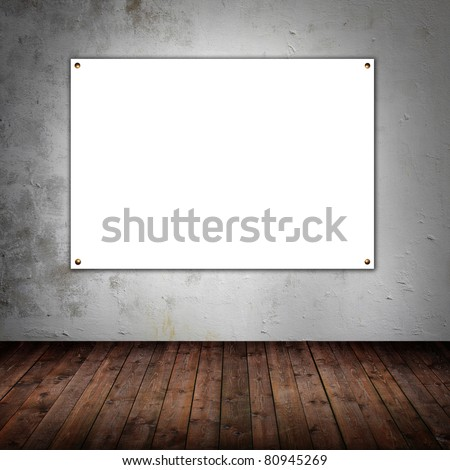 Room with empty white board - stock photo