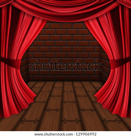 Room with opened red drapes, curtains and wood floor background.